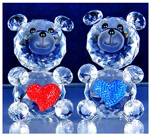 YUFENG 2pcs Crystal Bear Figurines With Heart Ornament Love U For Gift