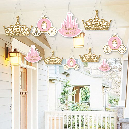 Princess Hanging - Hanging Little Princess Crown - Outdoor Hanging Decor - Pink and Gold Princess Baby Shower or Birthday Party Decorations - 10 Pieces