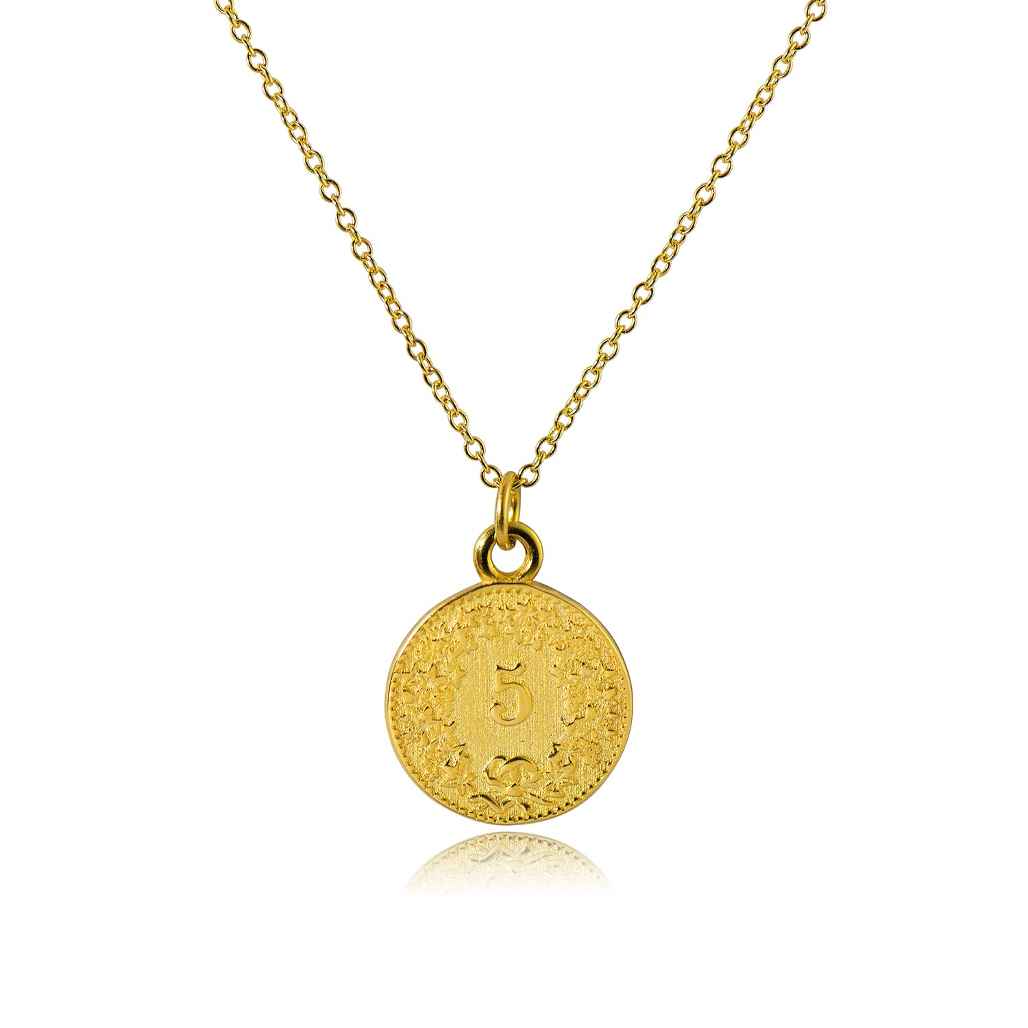 b315eed8a4147 CISHOP Treasure Vintage 18K Special Coin Necklace Sterling Silver Disc  Round Circle Pendant Necklace