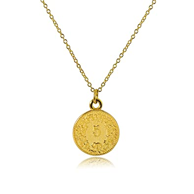 1e26c57baaf51 CISHOP Treasure Vintage 18K Special Coin Necklace Sterling Silver Disc  Round Circle Pendant Necklace