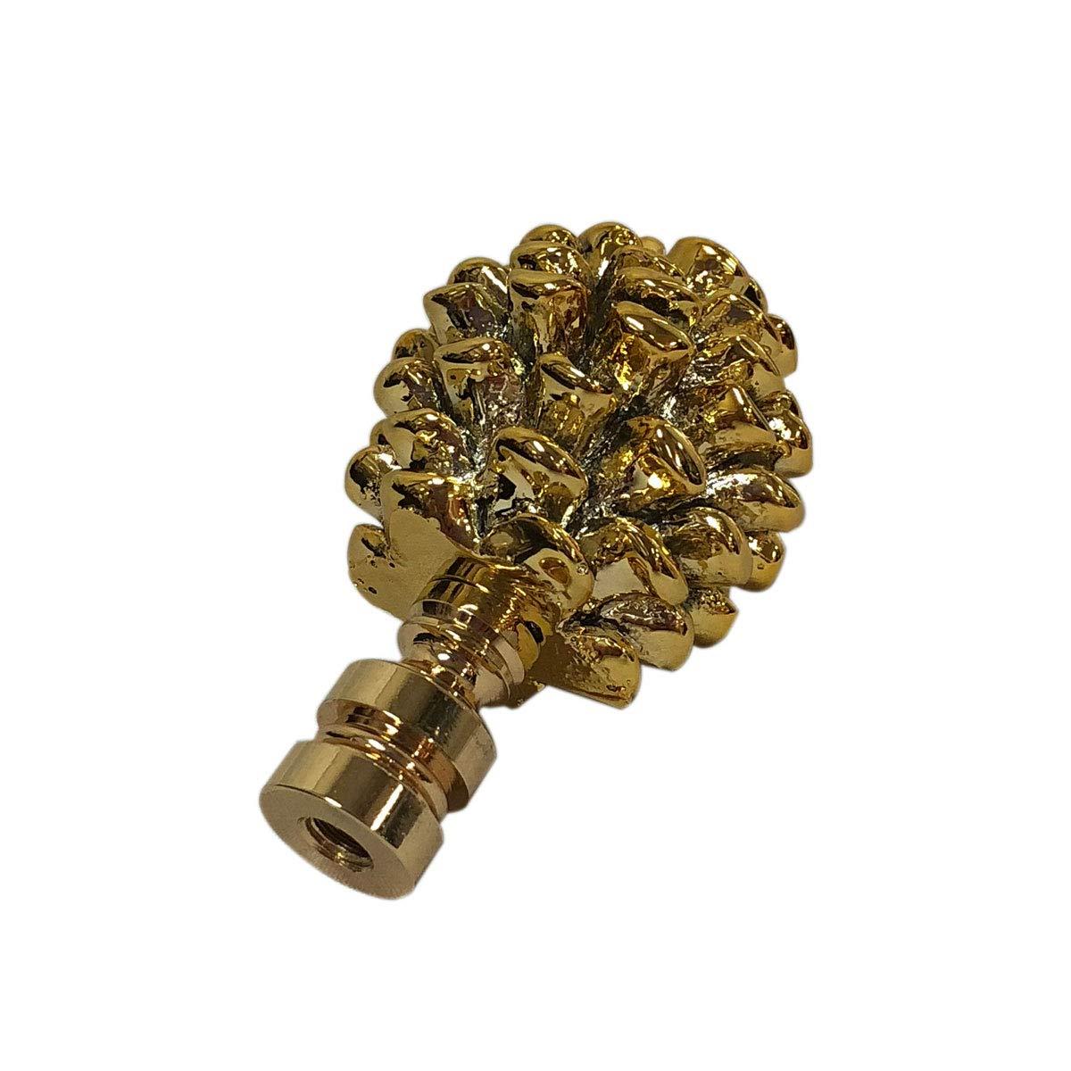 Antique Brass Royal Designs F-5064AB-2 Pine Cone Design Lamp Finial Set of 2