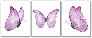 """Modern Art Purple Butterfly Wall Poster Prints Set of 3 (8""""X10"""" Canvas Picture) Girls Bedroom Nursery Living Room Bathroom Art Painting Home Decor Unframed"""