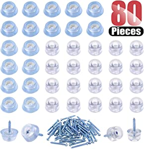 Hilitchi 80 Pcs [2-Size] Transparent Cylindrical Shaped Round Rubber Screw on Feet Pads with Built in Washer Matching Screws for Cutting Board Table Desk Chair Sofa and More (40pcs Feet 40pcs Screws)