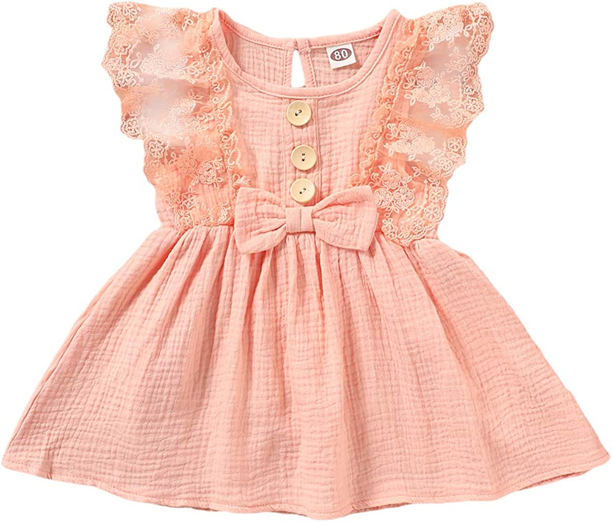Infant Girls Summer Outfit Halter Sleeveless Solid Color Linen Cotton Dress Sundress Tank Tops Baby Minimalist Clothes