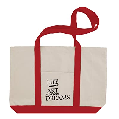 Life Is Art Paint Your Dream Cotton Canvas Boat Tote Bag Tote