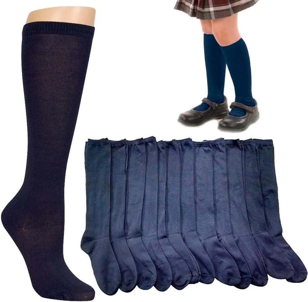 MARINE Girls Knee High School Chaussettes Avec Jaune Bows School Uniform 12.5-3.5