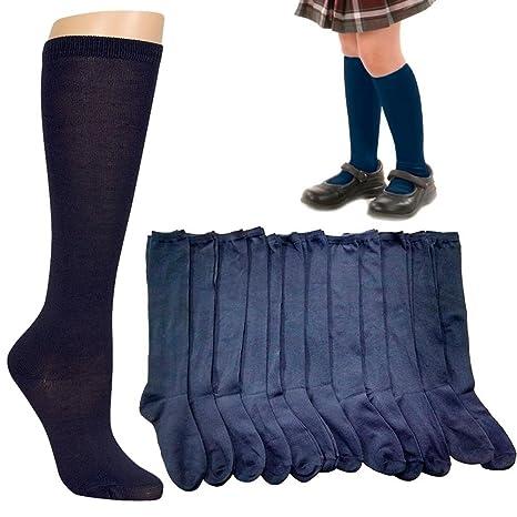 eedf8a4b796 Amazon.com  12 Pairs Knee High Uniform School Girl Soccer Socks Womens Navy  Blue Size 9-11  Office Products