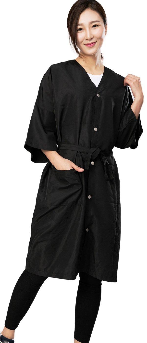Bata de peluquería para cliente estilo kimono, Capa de corte para peluquería - 5 botones de cierre: Amazon.es: Belleza