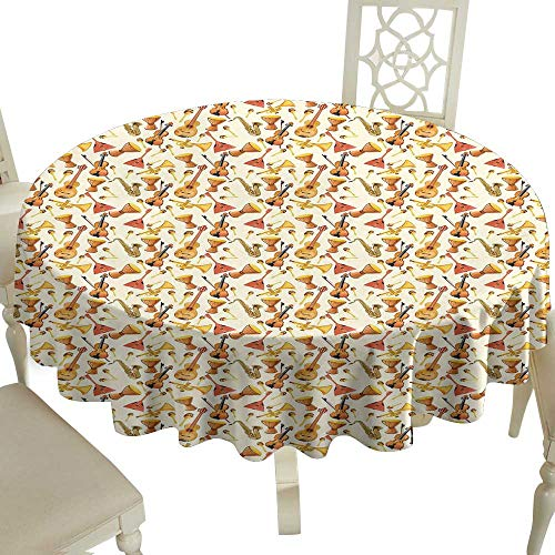 Cranekey Floral Round Tablecloth 65 Inch Jazz Music,Pattern with Horn Drum Guitar and Fiddlestick Folk Music Ensemble Instruments,Multicolor Great for,Coffee & More]()