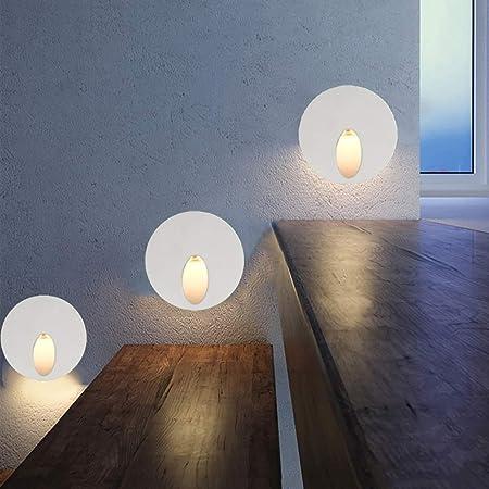 GAOwi Luz de Escalera LED 3W Ronda empotrada LED lámpara de Pared lámpara de Pared de Aluminio luz de la Esquina para Camino Paso Escalera 1 unids: Amazon.es: Hogar