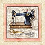 "Sewing Quilting Signed Art Print by Dan Morris 12""x12"" titled Vintage Sewing Machine 5"
