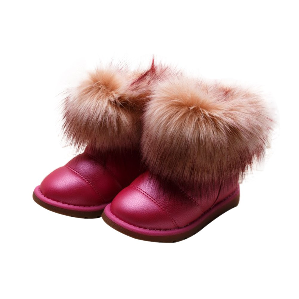 TAIYCYXGAN Baby Little Girls Fox Wool Snow Boots Winter Warm Waterproof Shoes