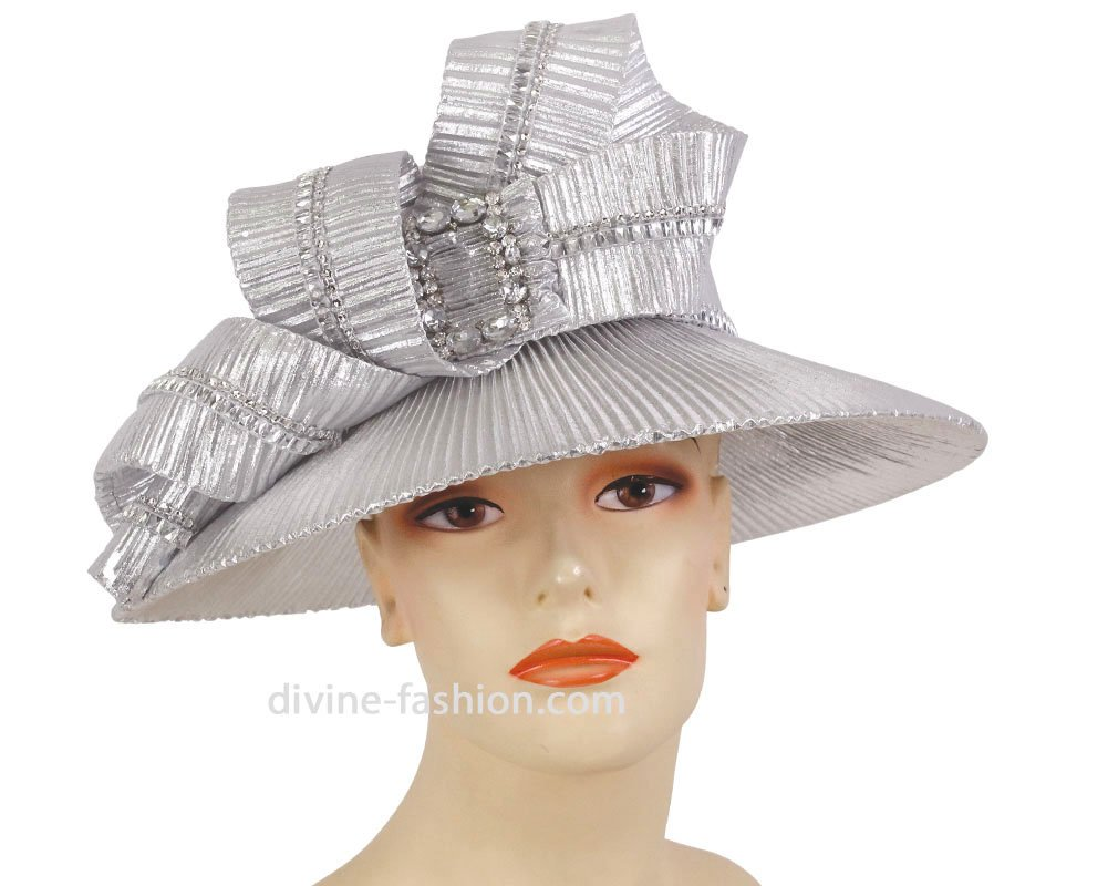 Ms. Divine Collection Women's Hats, Church Hat, Dressy Formal Hats #HK121 (Silver)