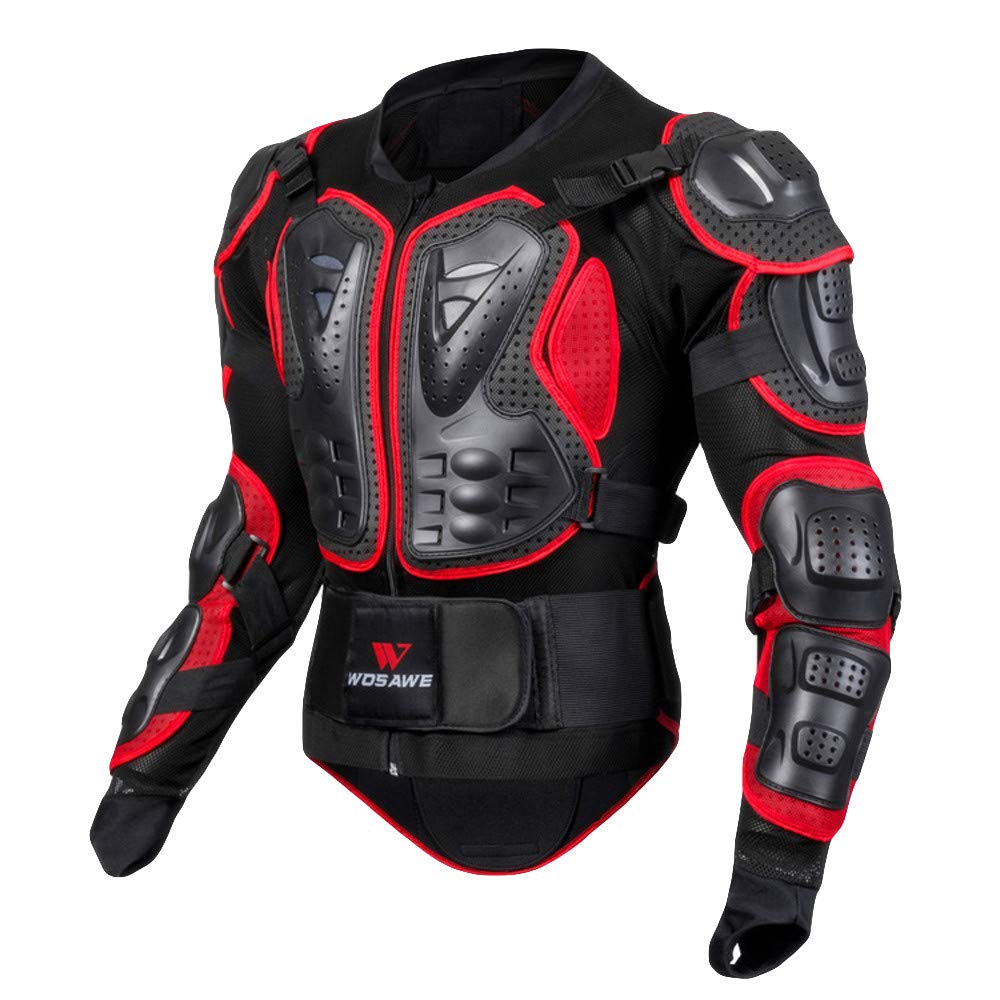 Red 2 XXLarge Motorcycle Predective Jacket,Extreme Sport Street Motocross Racing Shirt Outwear Jacket Zulmaliu