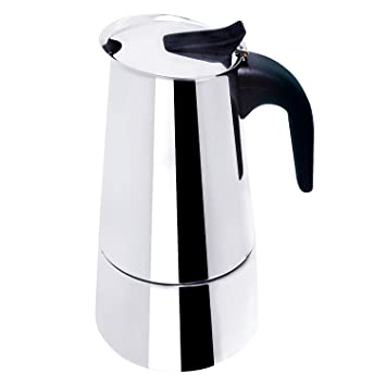 Bene Casa Classics 18/8 Stainless Steel Espresso Maker with Black Handle, 6 Cup