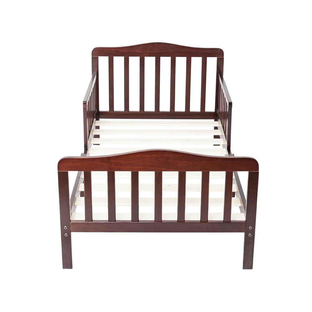 Wooden Baby Toddler Bed Children Bedroom Furniture with Safety Guardrails (Espresso)