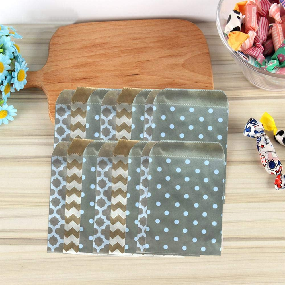 Sanmubo 100PCS Kraft Paper Bag Small Baking Bag Disposable Candy Bag Biodegradable Paper Candy Cookie Bags Candy Buffet Bags Small Polka Dot Paper Treat Bags