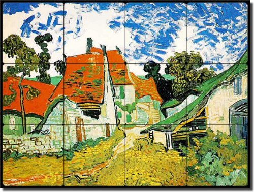 "UPC 810753023283, Village Street in Auvers by Vincent van Gogh - Floral Flowers Tumbled Marble Tile Mural 12"" x 16"" Kitchen Shower Backsplash"