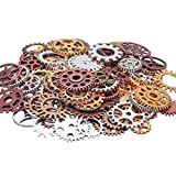 Acepstar 100 Gram DIY Assorted Antique Steampunk Gears for Necklace, Jewelry Making Accessory-Mixed Color