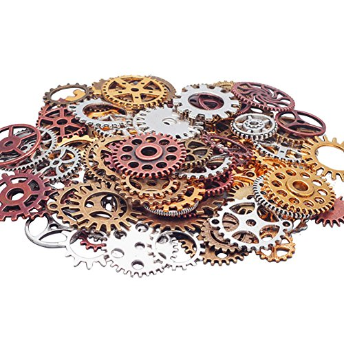 [Acepstar 100 Gram DIY Assorted Antique Steampunk Gears for Necklace, Jewelry Making Accessory-Mixed] (Steampunk Decorations)