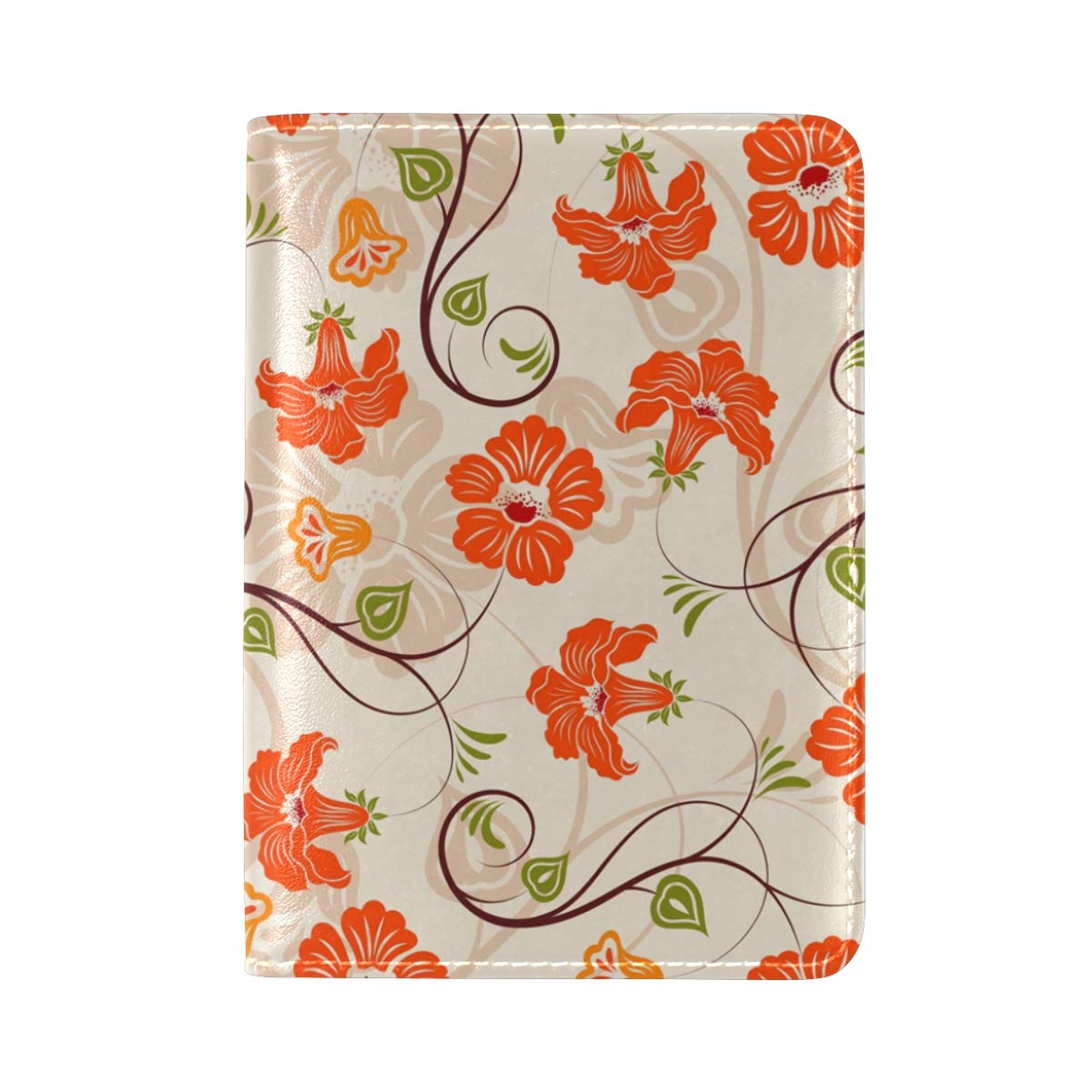 Flower And Leaf Seamless Pattern One Pocket Leather Passport Holder Cover Case Protector for Men Women Travel