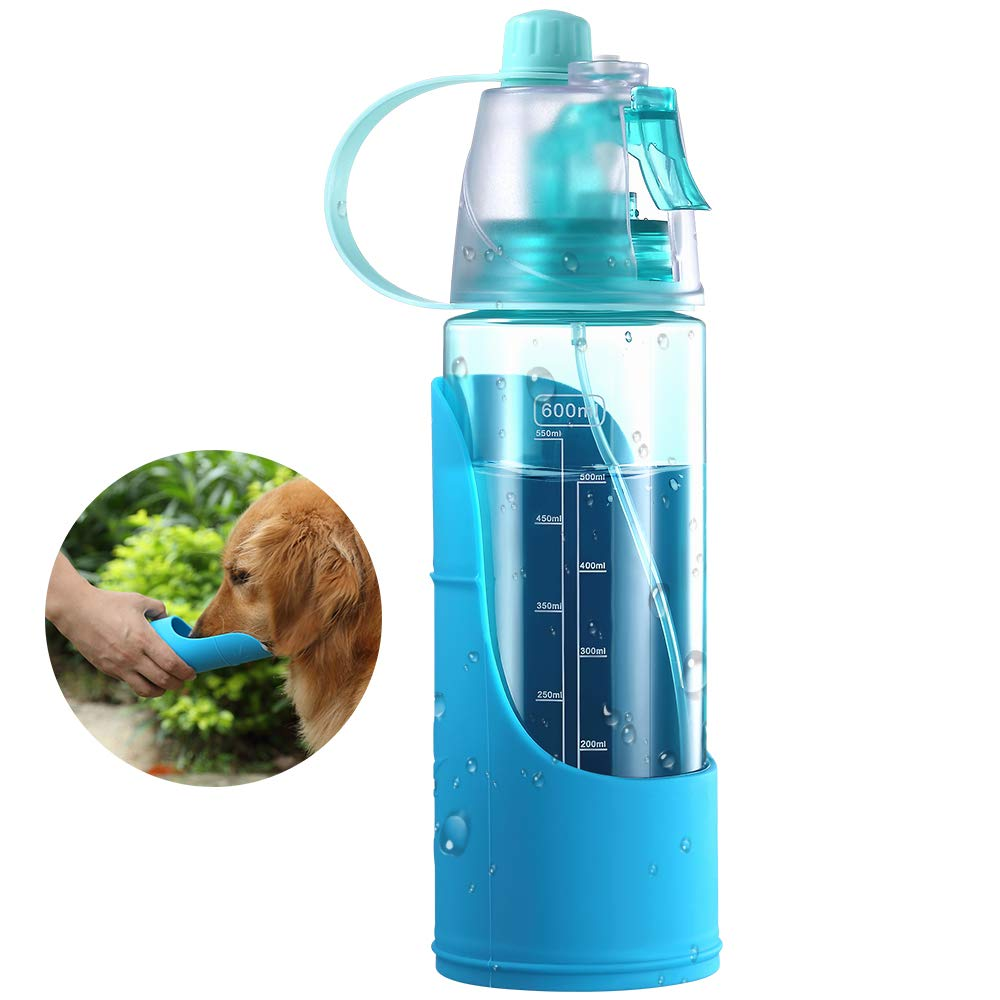 2-in-1 Use Portable Dog Water Bottle with Removable Water Bowl and Spray Function - 20 oz for Large, Medium or Small Dogs - Blue