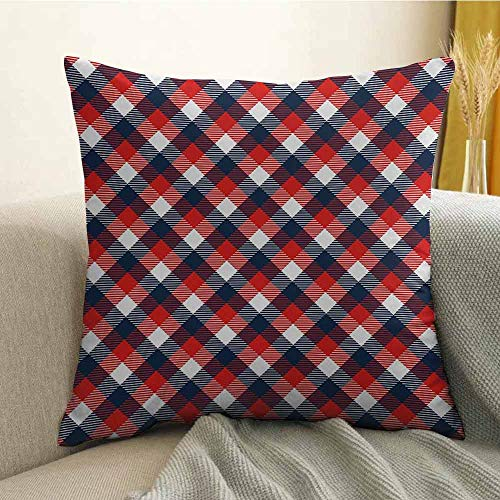 FreeKite Printed Custom Pillowcase Decorative Sofa Hug Pillowcase Houndstooth Pattern in Colorful Bars Royal British Clan Style Design W18 x L18 Inch Dark Blue Red - Sonora Towel Bar