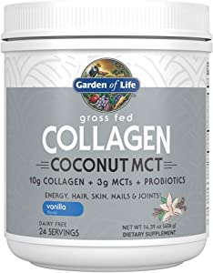 Garden of Life Grass Fed Collagen Coconut MCT Powder - Vanilla, 24 Servings, Collagen Powder for Energy Hair Skin Nails Joints, Collagen Peptides Powder, Coconut MCTs, Collagen Protein Supplements