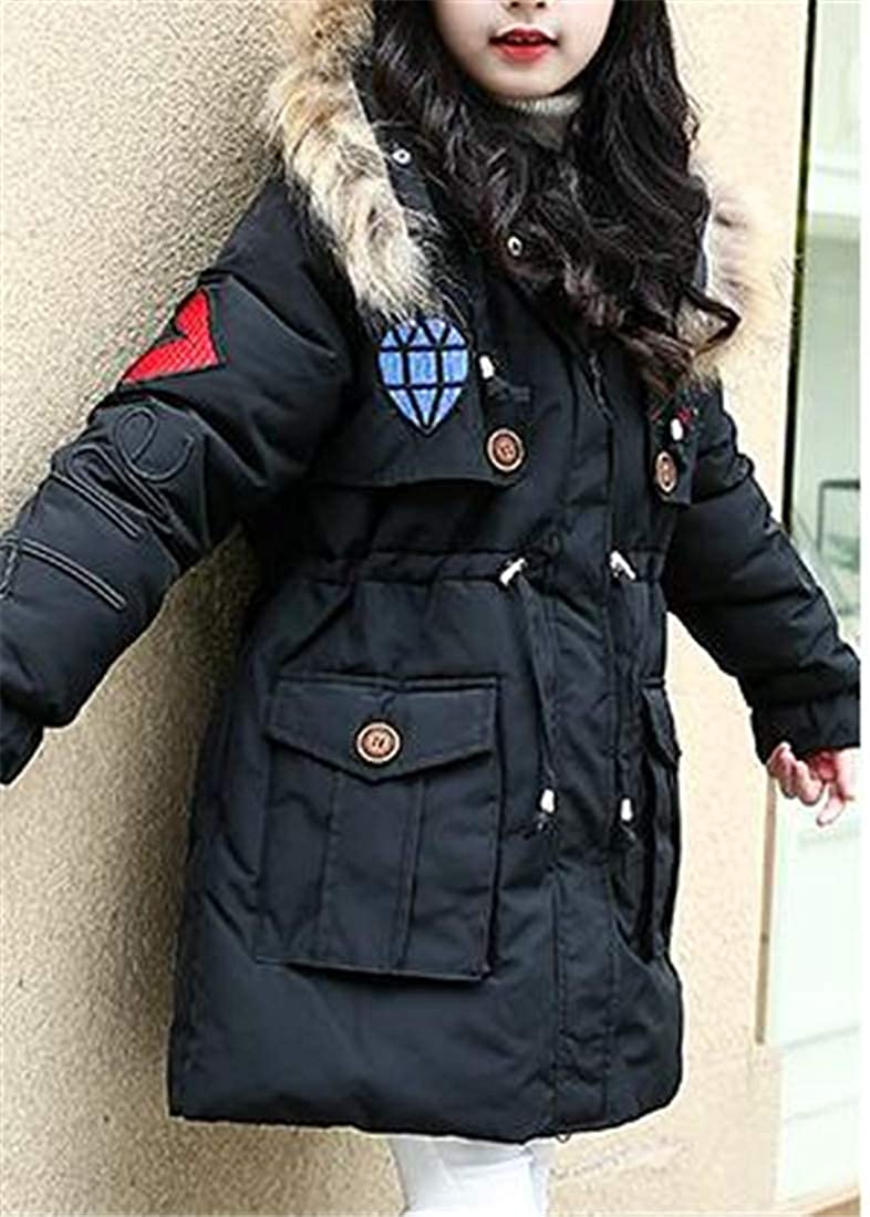 Sweatwater Girls Thicken Warm Hooded Quilted Cute Printed Parkas Coats