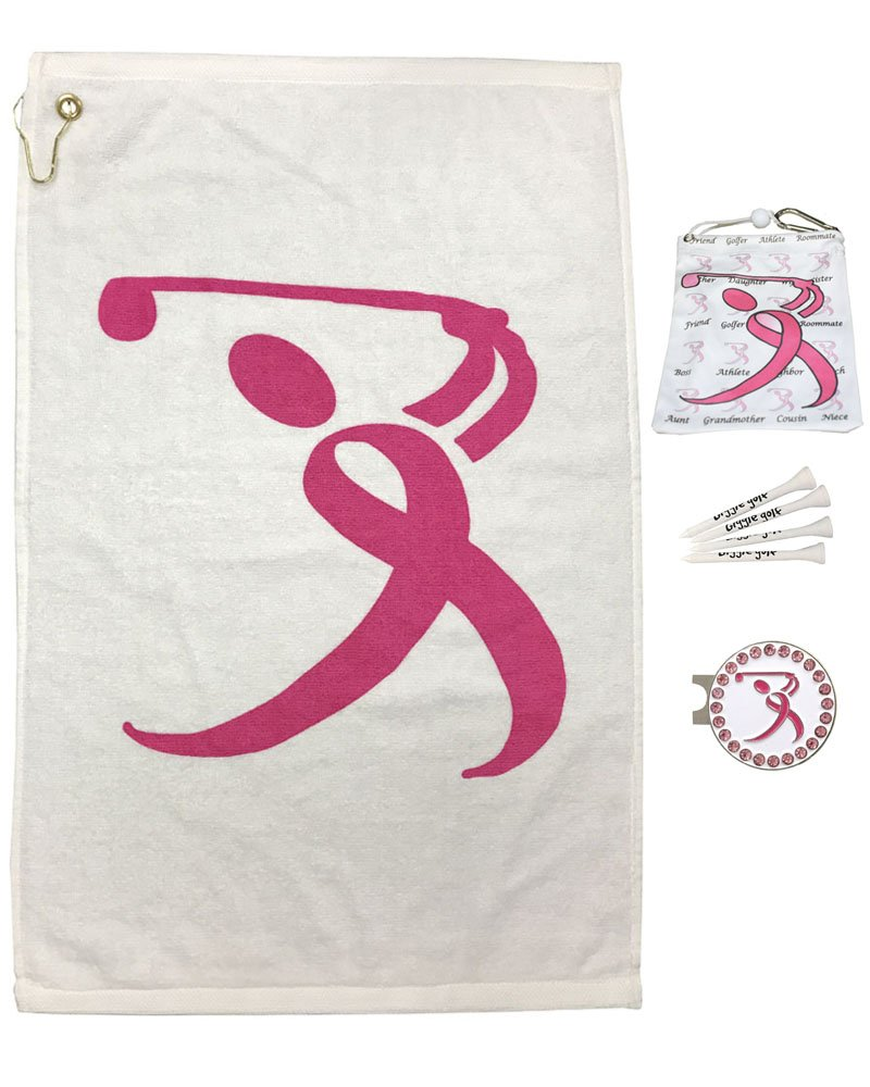 Giggle Golf Par 3 - Pink Ribbon Golfer Towel, Tee Bag And Bling Ball Marker With Hat Clip – Perfect Golf Gift For Women