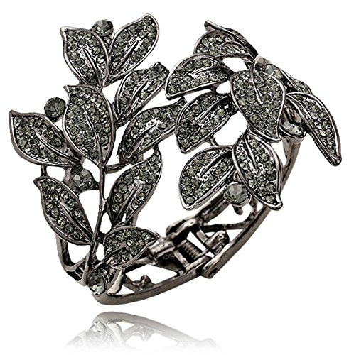 Elegant Black Hematite Tone Summer Leaves Crystal Bangle Bracelet Bridal, Proms, Pageants, Parties from Glamour Girl Gifts