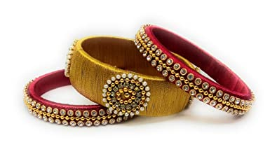 148cc71e90461 Sai Indian Traditional Handmade Silk Thread Bangle Set with Stone Work for  Women & Girls