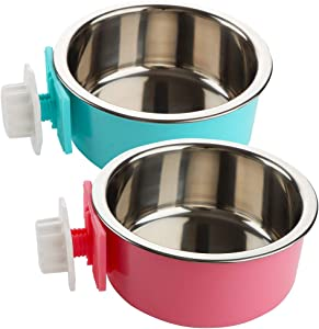 2 Pack Pet Food Water Bowl Plastic Basin and Stainless Steel Basin Combo Mountable Food Basin Dish for Rabbit Chinchilla Hamster Bird and Other Pet ( Pink and Blue )
