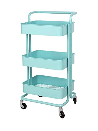 3 Tier Metal Mesh Storage Shelf Utility Rolling Cart With Removable Handle  And Plug,