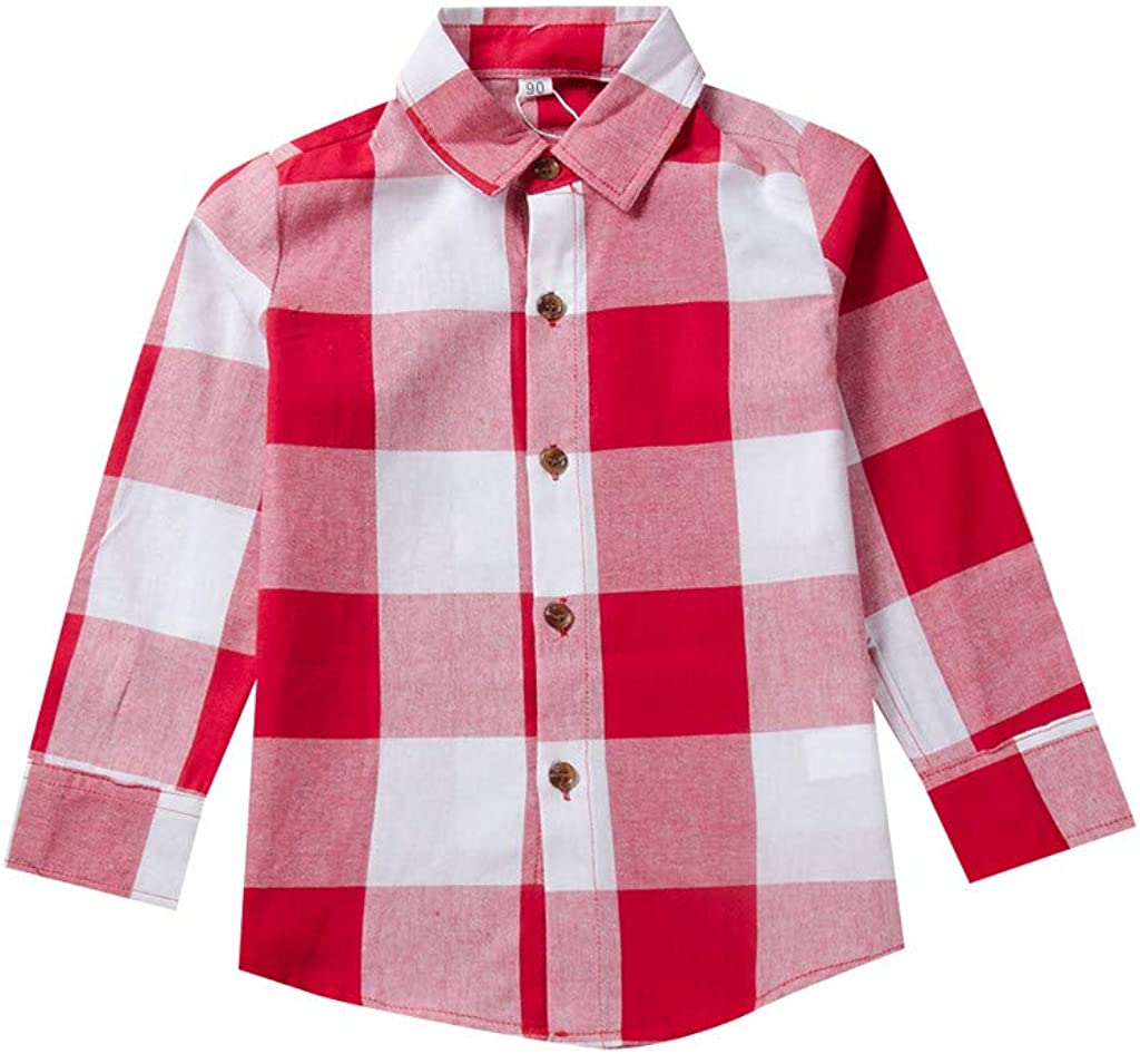 Bosue Kids Shirt Tops for 2-10 Years Toddler Baby Girls Boys Teens Cotton Long Sleeve Plaid Pocket Lapel Casual Basic Tee Clothes Blouse Sweatshirt