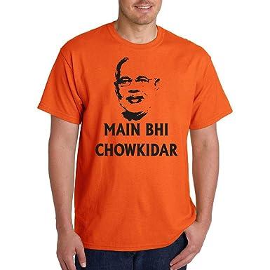 8bf32b9c6 Swadesia Main Bhi Chowkidar Cotton T-Shirt: Amazon.in: Clothing ...