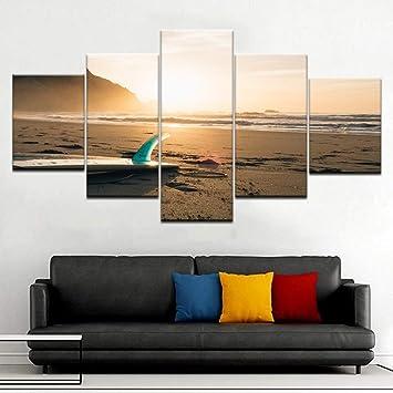 WZYWLH 5 Panel A Tabla de Surf en la Playa, Cerca del mar, Paisaje Marino Moderno, Wall Posters Canvas Art Painting For Living Room Home Decoration Artwork: ...