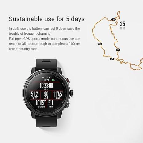 Amazfit Reloj Inteligente Xiaomi Amazfit Stratos 2 con GPS Versión Internacional Negro: Amazon.es: Deportes y aire libre