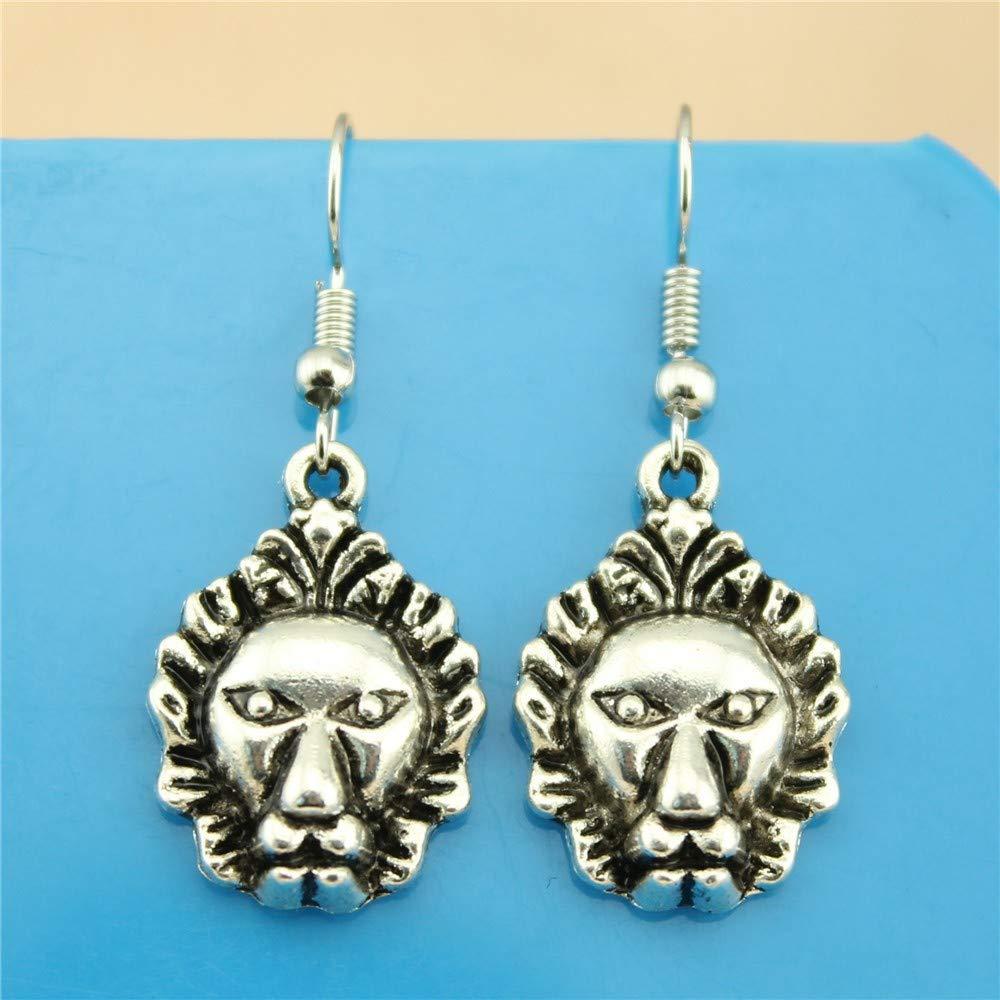 WYSIWYG 3 Pairs Drop Earrings Jewelry Earrings Findings Lion 24x16mm with Earring Backs Stopper