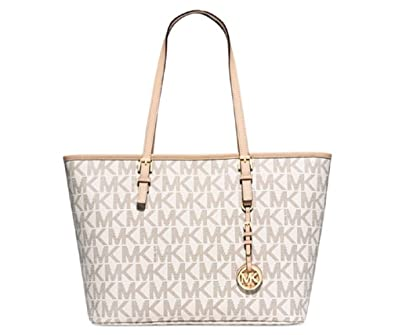 88489326b Amazon.com: MICHAEL Michael Kors Jet Set Travel Top Zip Tote-Vanilla  Logo-Gold: Shoes