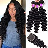 Ugrace Hair Loose Deep Wave Bundles with Closure Human Hair Loose Deep Curly with Closure Brazilian Virgin Hair with Closure 4x4 Inch Natural Color Can Be Dyed and Bleached (20 22 24+18)