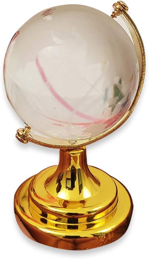 Whopper - Papel de Escritorio, Globo de Cristal, Miniatura, Globo terráqueo en Miniatura, Base de Color latón, Regalo clásico para Oficina y hogar con Envoltura de Regalos