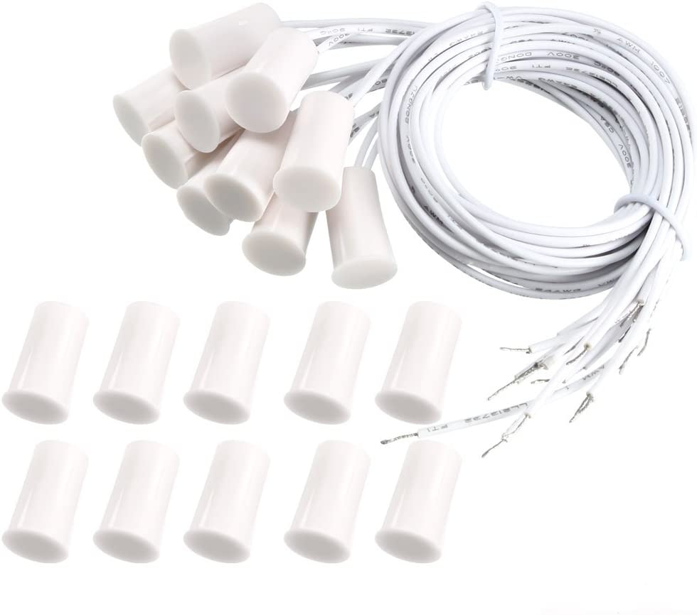 uxcell 10pcs RC-33 NC Recessed Wired Window Door Contact Sensor Alarm Magnetic Reed Switch White