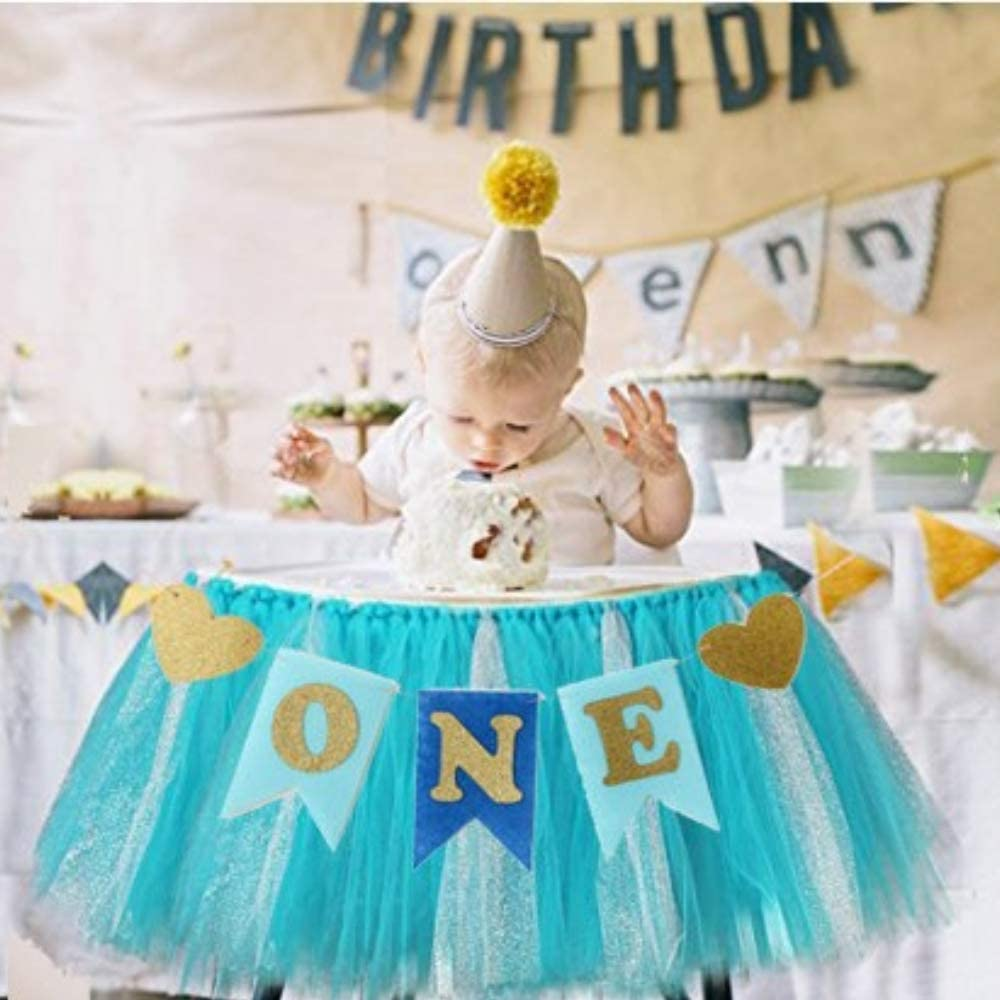 Kaptin 1st Birthday Baby Gold Pink Tutu Skirt and Banner for High Chair Decoration for Party Supplies (Blue)