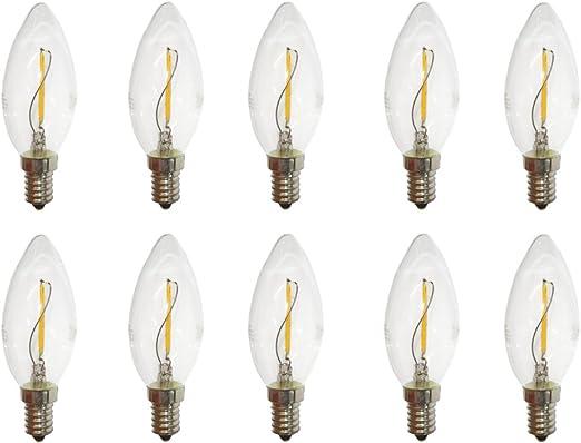 Lampadine Led A Filamento A Candela 10 Pezzi 1w Quasi Equivalente A 15w Trasparenti E14 100 Lm Bianco Caldo 2200k Esteticamente Simili Alle Classiche Lampadine A Incandescenza Amazon It Illuminazione