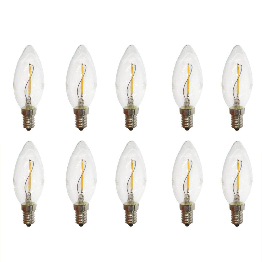 10 x LED Filament Candle 1 W E14 Clear Almost like 15W light bulb Fadenglühbirne 100 lm, Warm White 2700 K