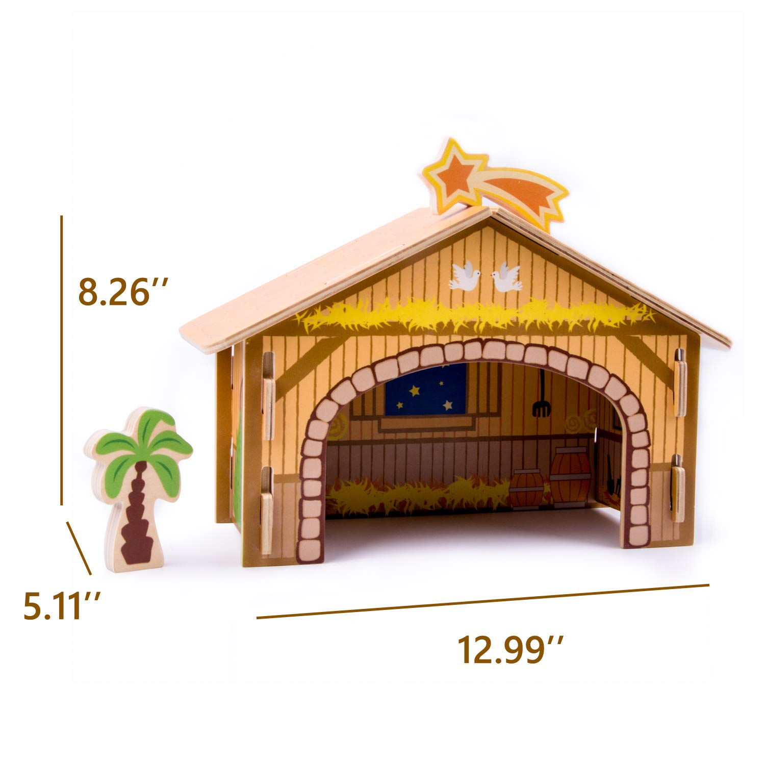 Joseph 21 Piece//pcs CharaHome Wooden Christmas Advent Nativity Set for Kids Jesus with Nativity Creche Mary 3 Wise Men