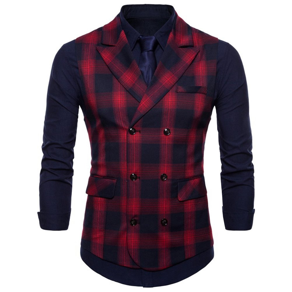 FULIER Mens Suit Vests Vest Lattice Dress Coat Waistcoat 6 Button Vests (X-Large, red)