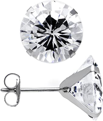 14 . 6 mm New White Gold on 925 Solid Sterling Silver Candy shape with Large and tiny Round white CZ Studs Earrings