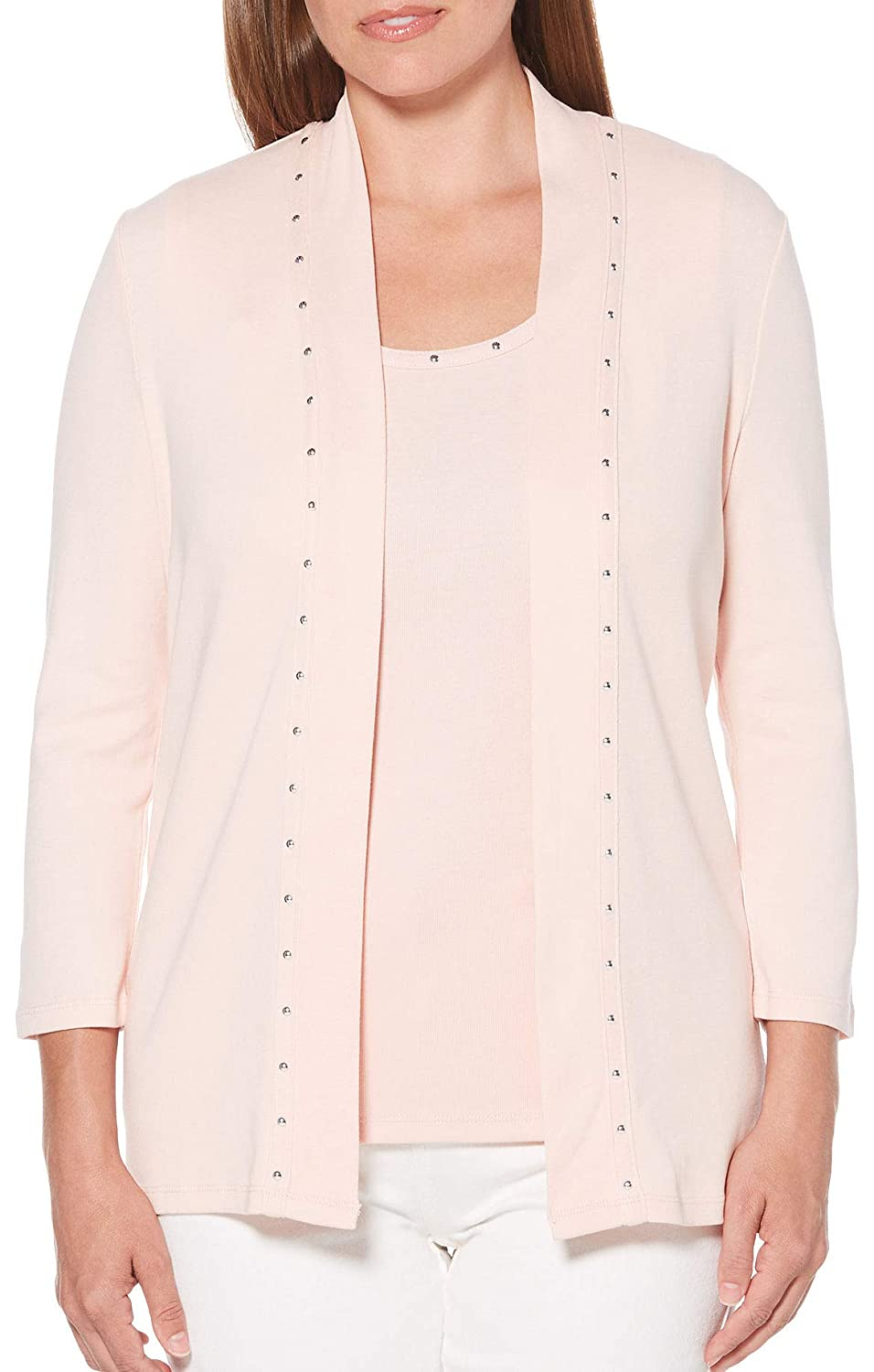Rafaella Petite Solid Embellished Open Front Cardigan P000511366